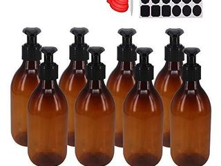 8 Pack 8OZ Empty Plastic Pump lotion Bottles With 1 Pen  labels   Silicone Funnel  Amber Color lotion Dispenser With locking lotion Pump For Body Wash  Shampoo  Massage lotion  Gel by ZMYBCPACK