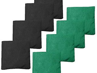 Weather Resistant Cornhole Bean Bags Set of 8   Regulation Size   Weight   Green   Black
