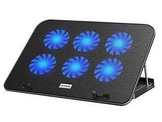 ICE COOREl laptop Cooling Pad for 15 6 14 13 Inch  laptop Cooler with 6 Quiet Cooling Fans and 5 Stand Height Adjustable  Notebook Cooling Pad Dual USB 2 0 Ports and Adjustable the Wind Speed