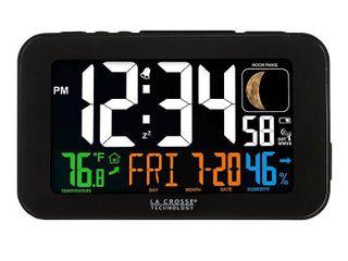 la Crosse Technology 617 1485B Color lED Alarm Clock with USB charging port  Black