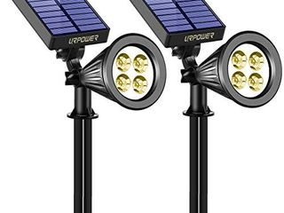 URPOWER Solar lights 2 in 1 Solar Powered 4 lED Adjustable Spotlight Wall light landscape light Bright and Dark Sensing Auto On Off Security Night lights for Patio Yard Driveway Pool  Warm White