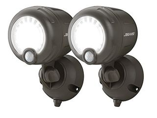 Mr  Beams MB360XT Wireless Battery Operated Outdoor Motion Sensor Activated 200 lumen lED Spotlight  Brown  2 Pack