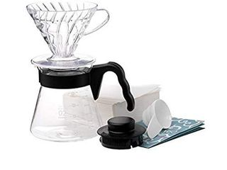 Hario Pour Over Starter Set with Dripper  Glass Server Scoop and Filters  Size 02  Black