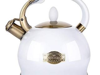 SUSTEAS White Stove Top Whistling Tea Kettle Surgical Stainless Steel Teakettle Teapot with Cool Toch Ergonomic Handle 1 Free Silicone Pinch Mitt Included  2 64 Quart