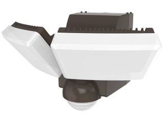 Defiant 180 Degree Bronze Twin Battery Motion Sensor Outdoor Integrated lED Flood lights with 800 lumens