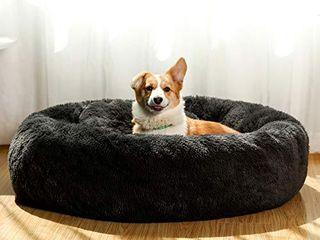 JMHUND Shag Vegan Fur Donut Comfortable Dog Bed for Medium Dogs  large Calming Cuddler Ultra Soft Washable Pet Cat Mat  Round Fluffy Self Warming Cushion Bed 26  Beige