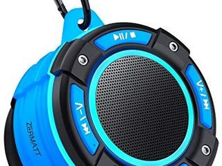 Zermatt IPX7 Waterproof Portable Wireless Bluetooth Speaker with light Show Suction Cup   Sturdy Hook lound HD Sound TWS Stereo Pairing Bluetooth V5 0 Perfect for Camping Beach Sports Pool Shower Blue