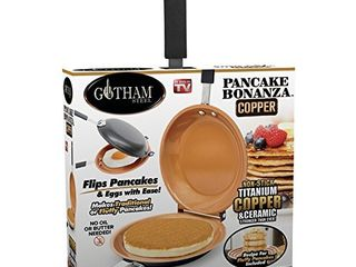 Gotham Steel Double Pan Nonstick Copper Easy to Flip Pan with Rubber Grip Handles for Fluffy Pancakes  Perfect Omelets  Frittatas  French Toast and More  Dishwasher Safe