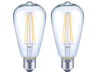 EcoSmart 75 Watt Equivalent ST19 Antique Edison Dimmable Clear Glass Filament Vintage Style lED light Bulb Daylight  2 Pack