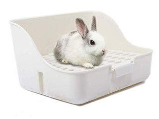 Md trade Square Potty Trainer Corner litter Bedding Box Pet Pan for Small Animal Guinea Pig Rabbit falesaur Ferrets White