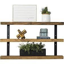 brown floating shelves dark wood 3 tier 36in