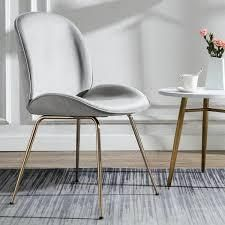 Shell Shape Velvet Uphostered Dining Room Side Chair grey 1 only Retail 139 99