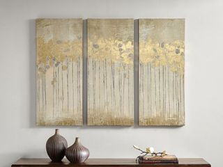 Copper Grove Corydalis Sandy Forest Taupe Gel Coat Canvas with Gold Foil Embellishment 3 piece Set   Retail 93 99