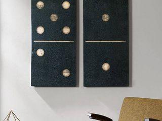 Set of 2  18  x 36  Two Black Dominos Gel Coat Printed on Canvas Black