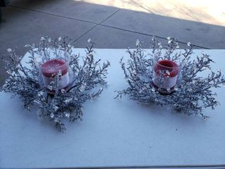 lot of 2 Glass   Crystal Branch Candle Holders
