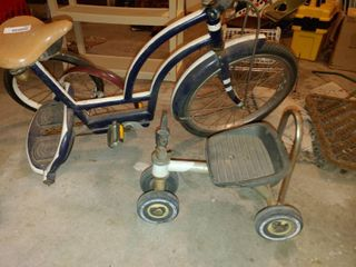 lot of 2 Vintage Damaged Tricycles