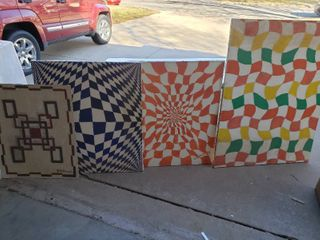 lot of 4 Handmade Paintings   largest Painting   3  x 4