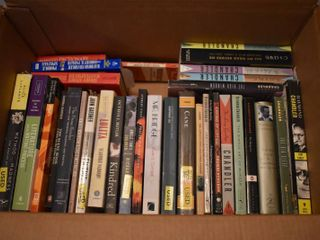 large lot of Assorted Books   Dictionaries   Authors Include   Raymond Chandler  Evan S  Connell    More
