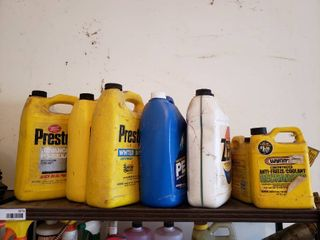 lot of 9 Assorted Bottles of Antifreeze Coolant PlUS a Bottle Of Windshield Washer Fluid