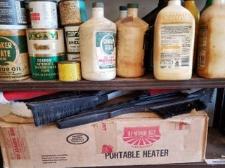 large lot of Assorted Motor Oils  Ice Scrapers    a Propane Powered Portable Heater