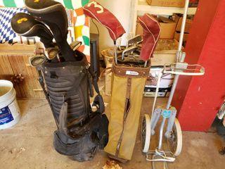 lot of 2 Incomplete Golf Club Sets Plus Jarman Co  Classic Metal Golf Club Bag Cart   18 Clubs Total