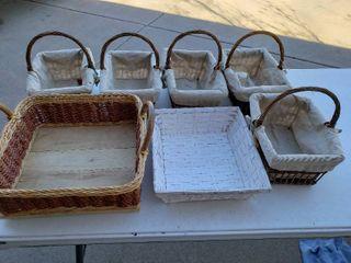 lot of 7 Assorted Wicker Baskets