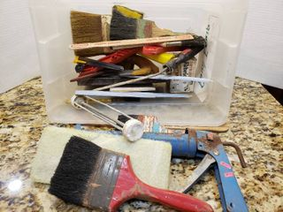 Small Tub of Painting Supplies