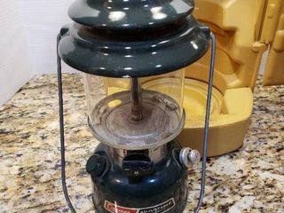 Coleman Adjustable Two Mantle lantern with Yellow Plastic Carrying Case