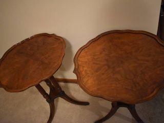 lot of 2 Ornate Antique Wooden End Tables w  Pie Crust Edge Design