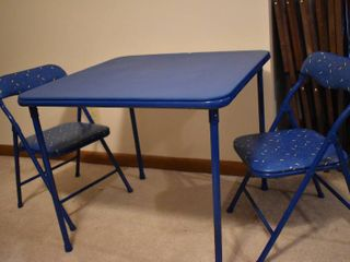 Small Blue Cosco Table with 2 Folding Chairs   Table legs are Easily Removable