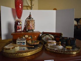 large lot of Assorted Wood Porcelain Glass Home Decor Items