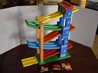 Wooden Toy Race Track Tower   Includes 5 Assorted Vehicles