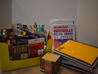 large lot of Office Supplies   Includes Notebooks  Graph Paper  Pens  Markers    More