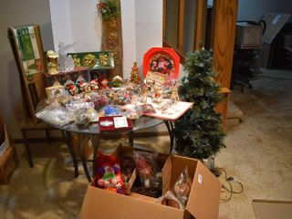Huge lot of Christmas Decor Items   Include 2 Faux Christmas Trees  Figurines  Ornaments  Small Toys    More