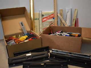 large lot of Office Supplies   Includes Markers  Rulers  Hole Punchers    More