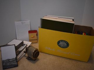 large lot of Office Supplies   Includes Notebooks  Pens  Pencil Sharpener    More