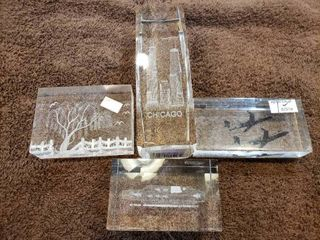 lot of 4 Clear Paperweights with 3D Designs