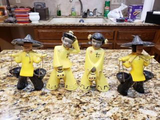 lot of 4 Chinese Clay Figurines