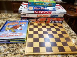 large lot of Vintage Newer Board Games  Puzzles  Toys   Wood Chess Board