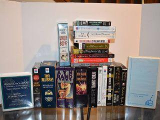 large lot of Assorted Books on Cassette Tape   Titles Include   Atlas Shrugged  The Shape Shifter    More