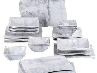 MAlACASA  Series Flora  Marble Ceramic Dinnerware Set For 6   Grey   26 Piece
