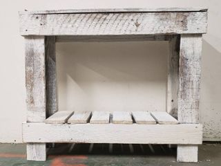 Handmade Del Hutson Designs Barnwood Sofa Table   White