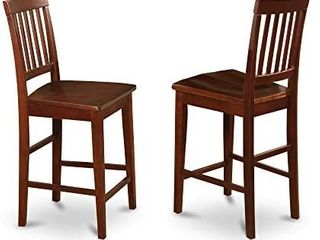 East West Furniture Vernon counter height chairs Wooden Seat and Mahogany Solid wood Frame kitchen counter height chairs  set of 2