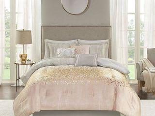 7pc Midnight Sky Metallic Print Comforter Set Blush  Queen