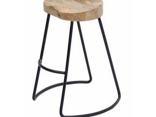 Tubular Metal and Wooden Saddle Seat Bar Stool