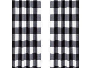 Curtain Room Darkening 2PK Black White Check   84  x 54
