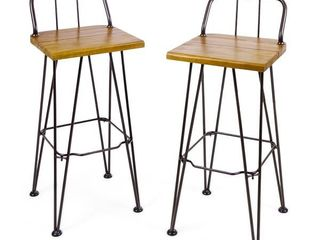 Christopher Knight Home   Denali Outdoor Industrial Wood Bar Stool  Set of 2