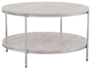 Silver Orchid Henderson Round Faux Stone Cocktail Table   CHROME faux travertine
