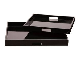 Black lacquer Square Wood Tray Set