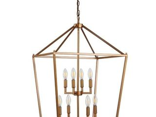 Johnathan Y   Pagoda 20  8 Bulb lantern Metal lED Pendant  Antique Gold